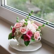 Flowers in a Cup - bouquet of handmade