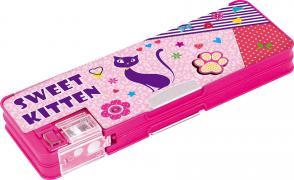 Пенал пластиковый на магните с точилкой Sweet Kitten, 2 отделени