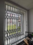 Rose metal grilles on the doors of the windows of the windows of Chernivtsi